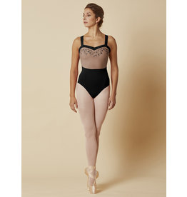Mirella open back wide strap leotard