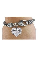Cheer Crystal Heart Charm Bracelet