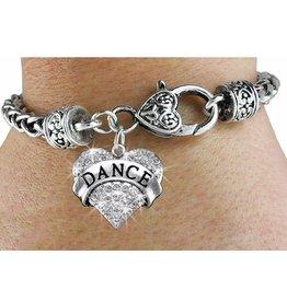 Dance Crystal Heart Charm Bracelet