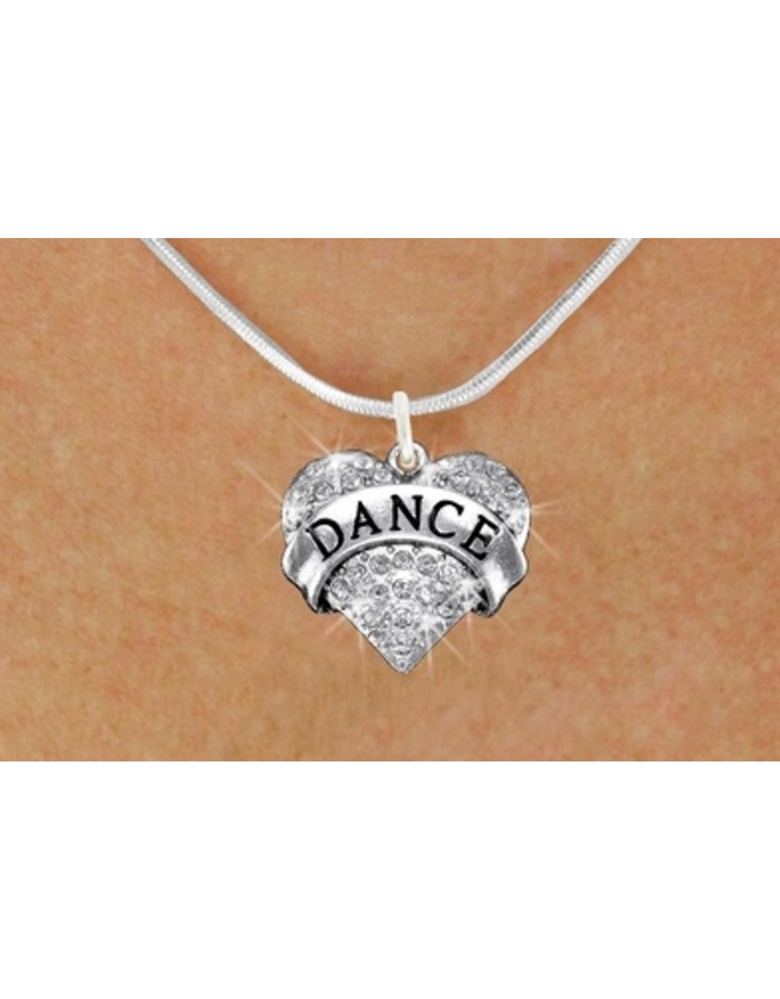 Dance Crystal Heart Charm & Necklace