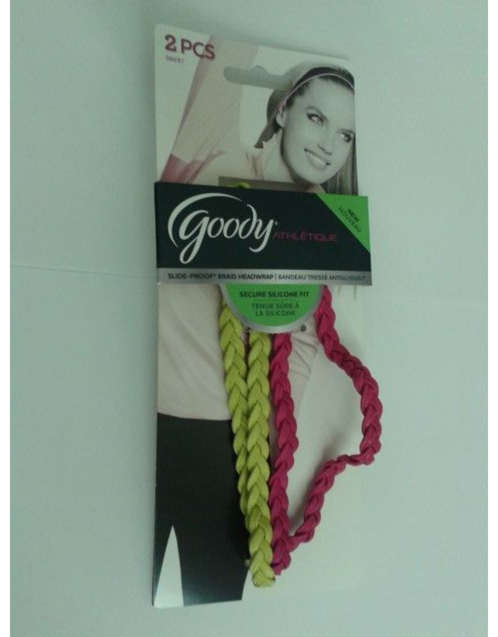 Goody Headwrap Slide Proof Braid Pink, Yellow