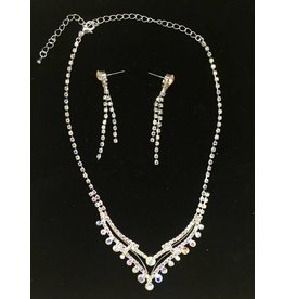 Crystal V-Line Necklace and Earrings