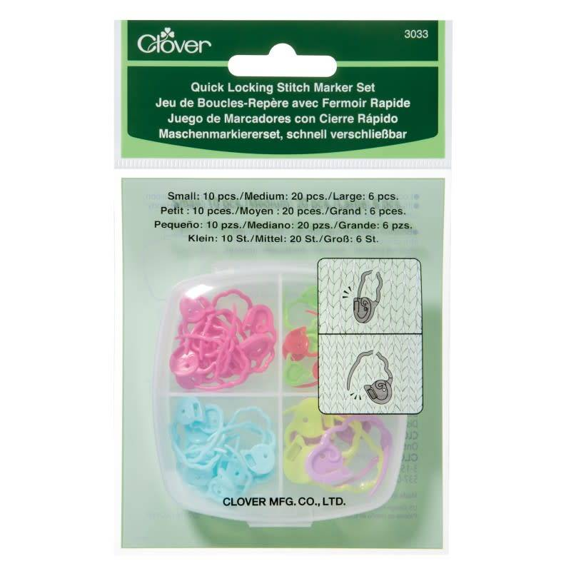 Clover 3033 Clover Quick Lock Stitch Markers 3 Size Set