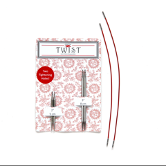 """ChiaoGoo ChiaoGoo Twist Short Combo 2"""" & 3"""" Tips with two 6"""" cords US 2 2.75mm"""