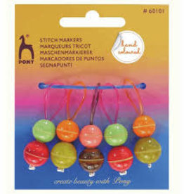 PONY Wood Hand Painted Stitch Markers 5 pack