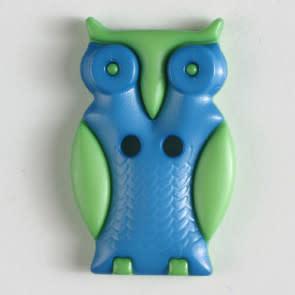 Dill Buttons 330798 Green Blue Owl Button 25mm