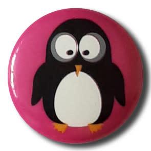 Dill Buttons 261312 Pink Penguin Button 15 mm