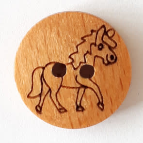 Dill Buttons 261291 Etched Wood Unicorn Button 18 mm