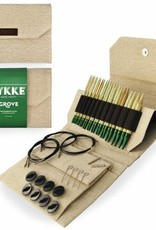 "LYKKECRAFTS Lykke Bamboo 5"" INTERCHANGEABLE US 3-15 Needle Set Natural Jute CASE"