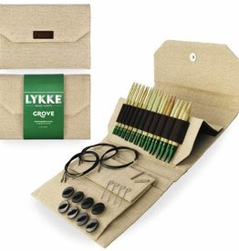 "LYKKECRAFTS Lykke Grove Bamboo 5"" INTERCHANGEABLE TIPS  US 3-15 Needle Set Natural Jute CASE"