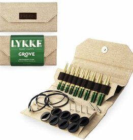 "LYKKECRAFTS Lykke Grove Bamboo 3.5"" INTERCHANGEABLE TIPS US 3-10.5 Needle Set GREY CASE"