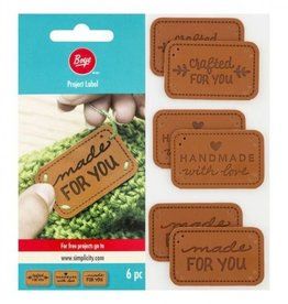 Made with Love Faux Leather Labels 6 pack