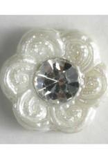 Dill Buttons 330597 White Flower rhinestone center 11 mm