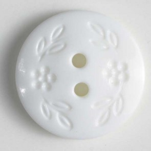 Dill Buttons 201358 White Stamped Flower button 11 mm