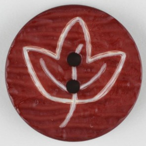 Dill Buttons 251362 Cranberry etched leaf button 18mm