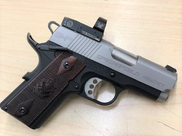 "SPRINGFIELD CONSIGNMENT SPRINGFIELD 1911 EMP 9MM 3"" CA MILLED SLIDE WITH VORTEX VENOM 6MOA 3 MAGAZINES AND CASE"