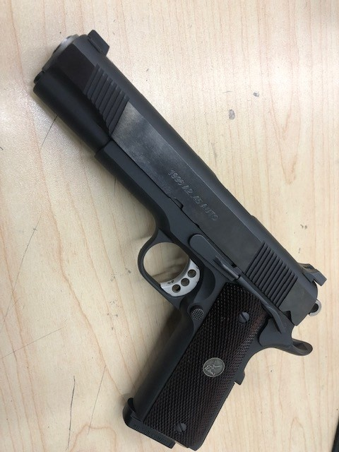"WILSON COMBAT CONSIGNMENT WILSON COMBAT 1996 A2 .45ACP 5"" 2 MAGS, ORIGINAL CASE, PAPERWORK, BUSHING WRENCH, SPARE WOOD GRIPS"