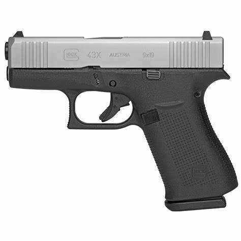 "GLOCK LAW ENFORCEMENT / BLUE LABEL GLOCK 43X BITONE 9MM 3.4"" BARREL 2 10 ROUND MAGAZINES"