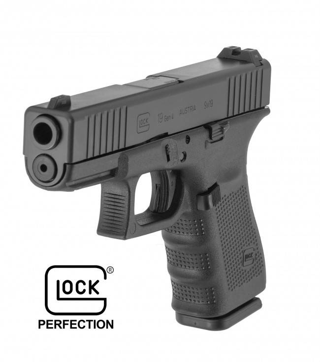 "GLOCK GLOCK 19 GEN4 9MM 4"" FRONT SERRATIONS WITH GLOCK NIGHT SIGHTS BLUE LABEL ACTIVE LAW ENFORCEMENT"
