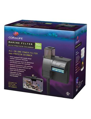 Hang-On Back Marine Power Filter w/ Protein Skimmer (30Gal) CoraLife