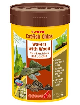Catfish & Pleco Chips, Wafers with Wood (1.3oz/100 ml) Sera