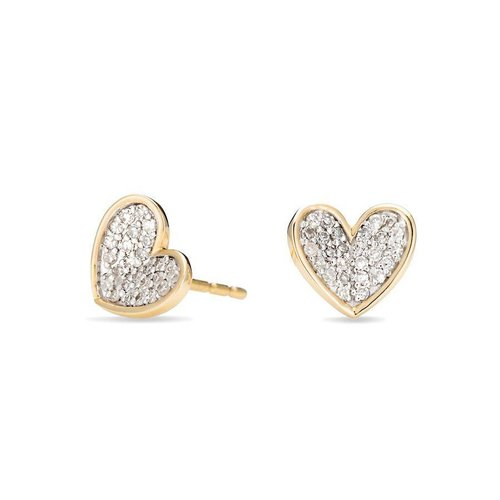 ADINA REYTER ADINA REYTER TINY PAVE FOLDED HEART EARRINGS