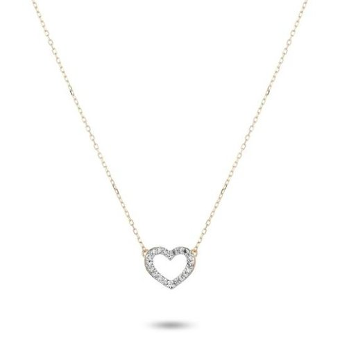 ADINA REYTER ADINA REYTER TINY PAVE OPEN FOLDED HEART NECKLACE