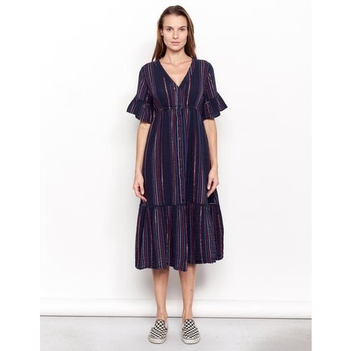 SUNDRY SUNDRY LUREX STRIPE PEASANT DRESS