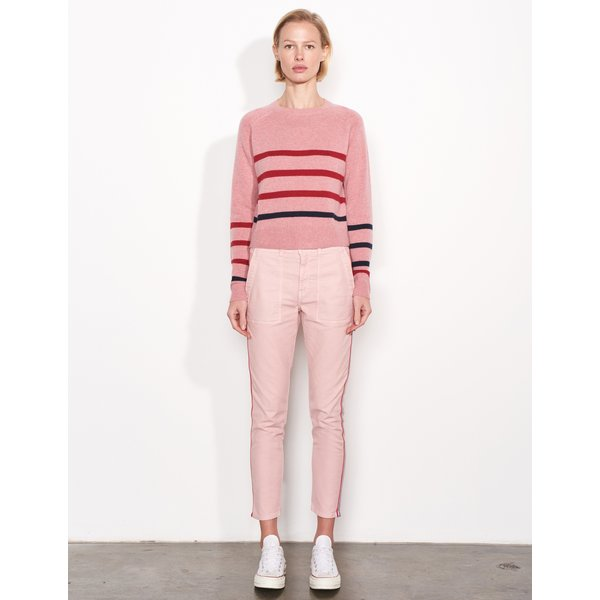 SUNDRY HEART AND STRIPE CREW SWEATER