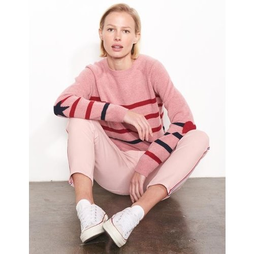 SUNDRY SUNDRY HEART AND STRIPE CREW SWEATER