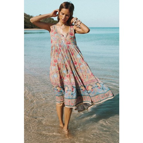SPELL AND THE GYPSY COLLECTIVE SPELL SEASHELL BABYDOLL MIDI DRESS