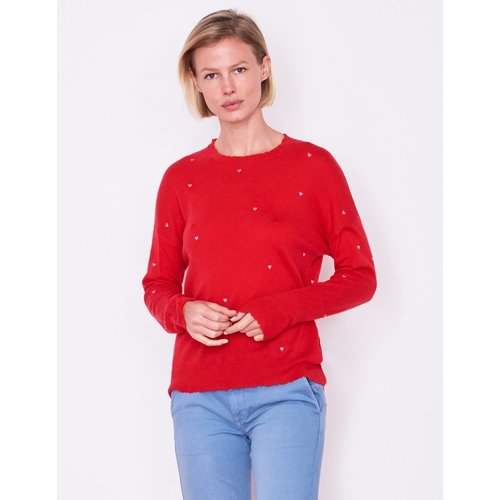 SUNDRY SUNDRY LITTLE HEARTS CREW NECK SWEATER