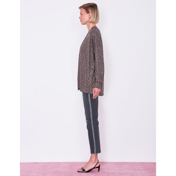 SUNDRY LEOPARD BUTTON CARDIGAN