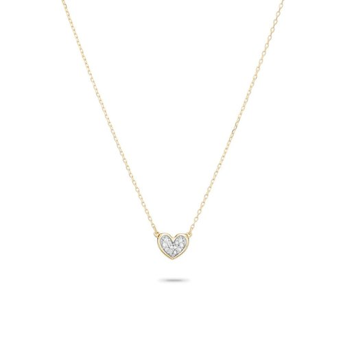 ADINA REYTER ADINA REYTER SUPER TINY PAVE FOLDED HEART NECKLACE