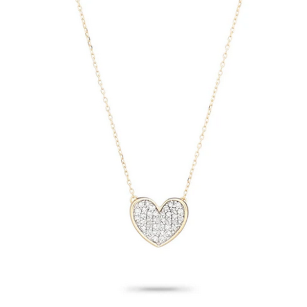 ADINA REYTER PAVE FOLDED HEART NECKLACE
