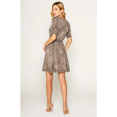 LAVENDER BROWN LAVENDER BROWN  CHEETAH SHORT SLEEVE WRAP DRESS