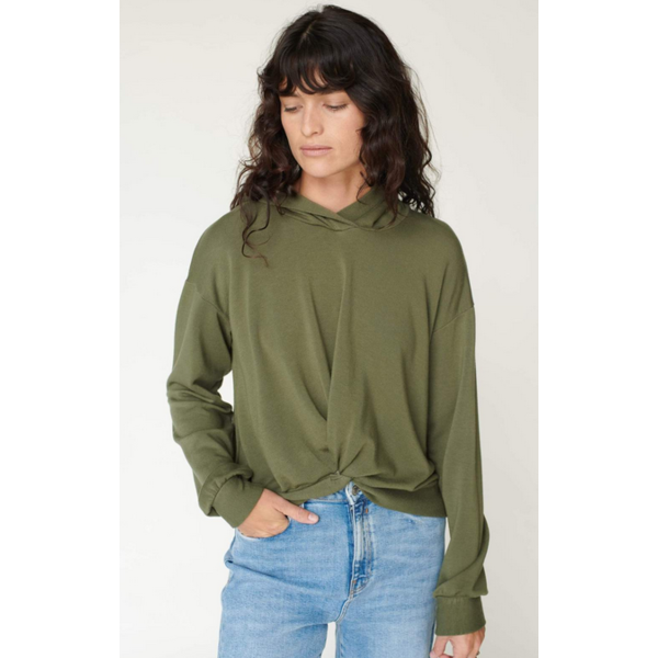 STATESIDE VISCOSE FLEECE TWIST FRONT HOODIE