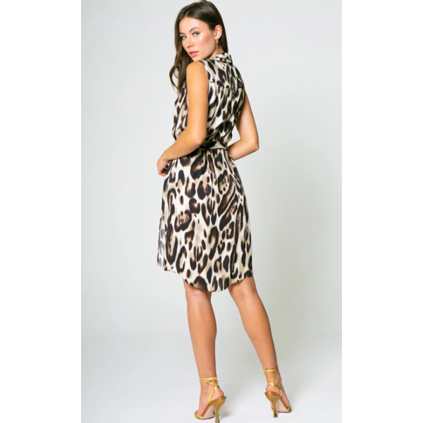 LAVENDER BROWN CHEETAH SHIRT DRESS