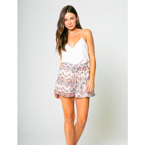 LAV LAVENDER BROWN RUFFLE PRINTED SHORTS