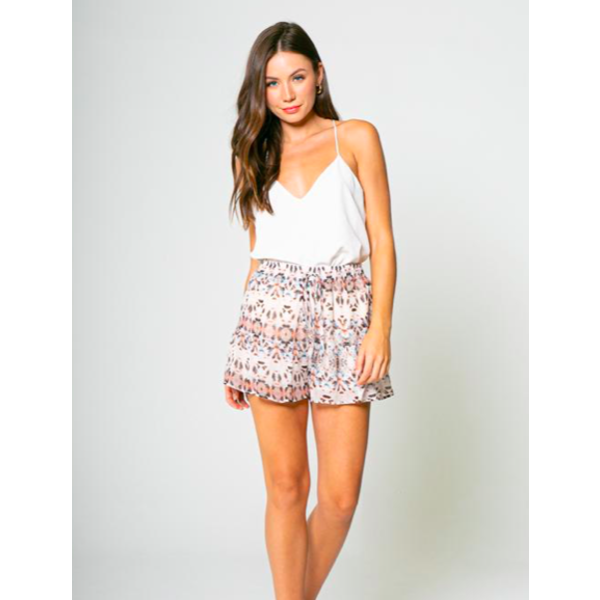 LAVENDER BROWN RUFFLE PRINTED SHORTS