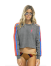 AVIATOR NATION BOLT EMBROIDERY CLASSIC CROPPED CREW SWEATSHIRT