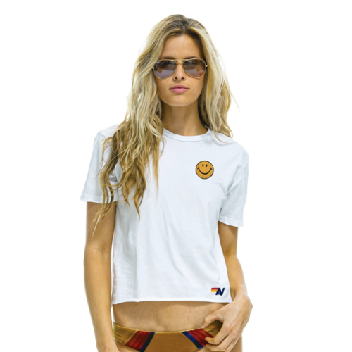 AVIATOR NATION AVIATOR NATION SMILEY EMBROIDERY BOYFRIEND TEE