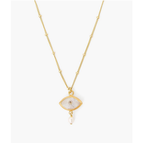 CHAN LUU CHAN LUU PEARL AND EVIL EYE DIAMOND NECKLACE