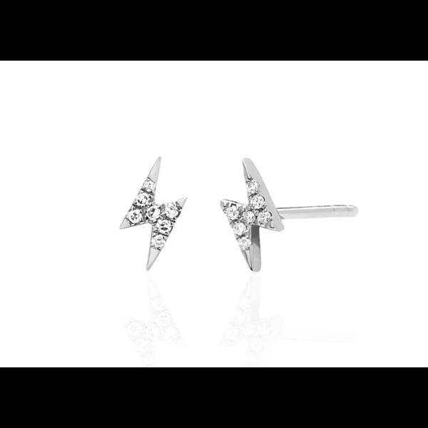 EF COLLECTION MINI DIAMOND LIGHTNING BOLT STUD EARRING