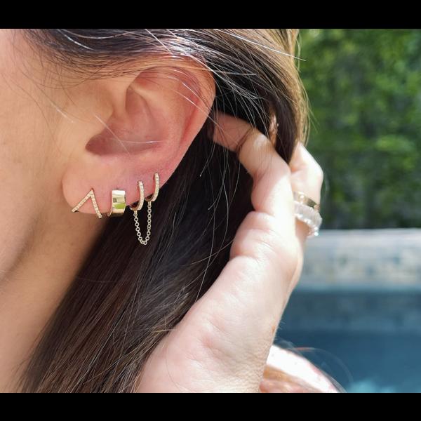 EF COLLECTION DIAMOND DOUBLE HUGGIE CHAIN EARRING