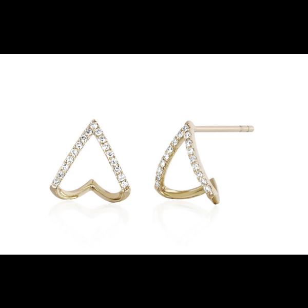 EF COLLECTION DIAMOND CHEVRON HUGGIE EARRING
