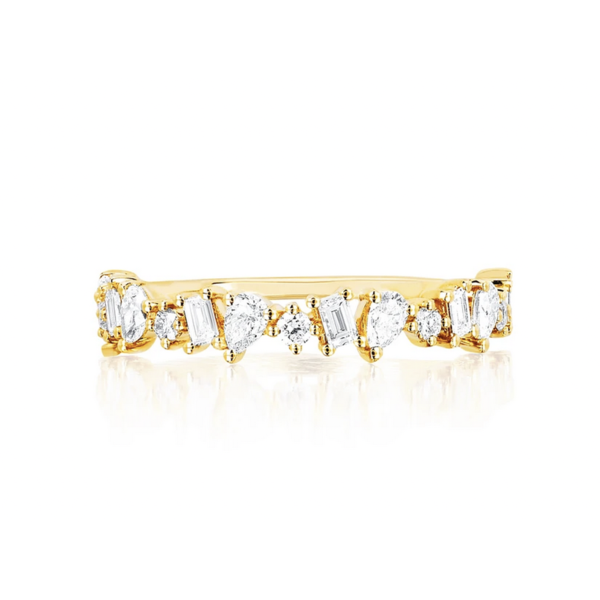 EF COLLECTION HALF DIAMOND MULTI FACETED RING