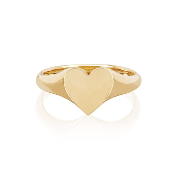 EF COLLECTION GOLD HEART SIGNET RING