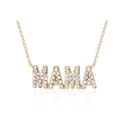EF COLLECTION EF COLLECTION MINI DIAMOND MAMA INITIAL NECKLACE