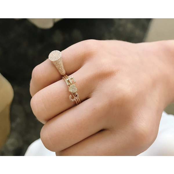 EF COLLECTION DIAMOND MINI HEART STACK RING